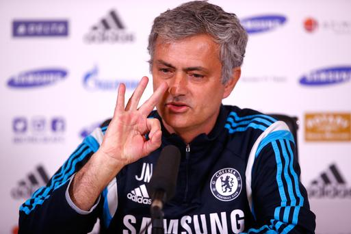 COBHAM, ENGLAND - MARCH 13: Jose Mourinho speaks during a press conference at Chelsea Training Ground on March 13, 2015 in Cobham, England. (Photo by Clive Rose/Getty Images)