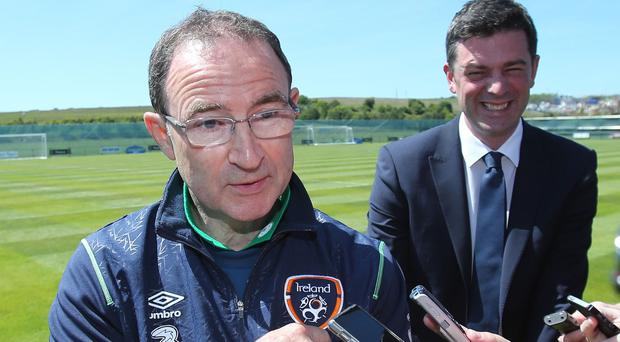 Republic of Ireland manager Martin O'Neill and his coaching staff were back on the training pitch on Wednesday after a motorway accident