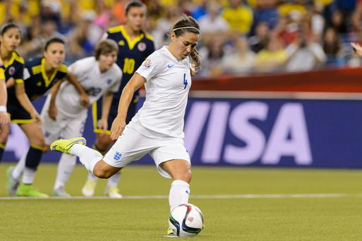 Spot on: Fara Williams scores England's second goal against Colombia from the penalty spot