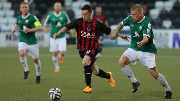 Crusaders could not find a way past the Levadia defence