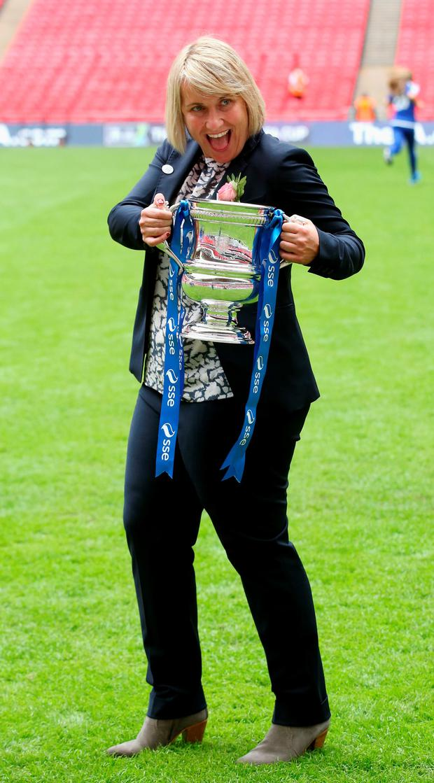 Hands on the prize: Chelsea Ladies manager Emma Hayes