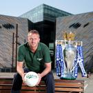Titanic tussle: Carlsberg ambassador and Liverpool legend, Dietmar Hamann, showcased the most coveted trophy in English football to fans in Belfast