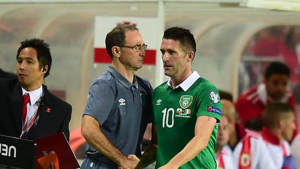 Republic of Ireland manager Martin O'Neill (left) swiftly turned his attention to Monday's clash with Georgia