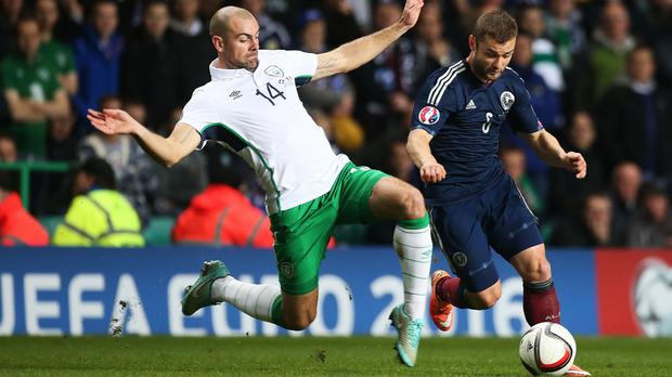 Darron Gibson, left, is back in the Republic of Ireland squad after injury