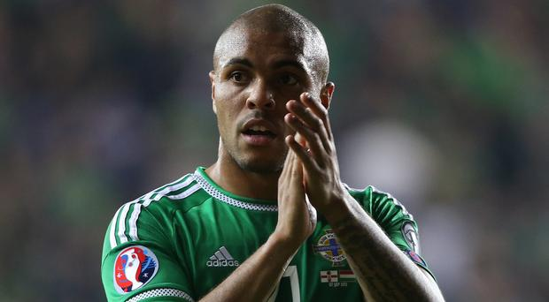 Northern Ireland's Josh Magennis hopes to score the goal that sends them to Euro 2016