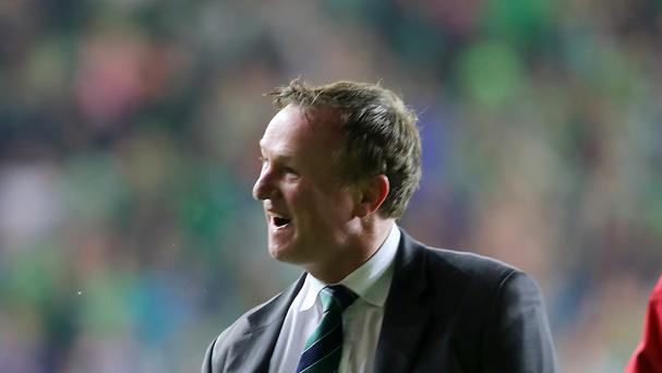 Northern Ireland manager Michael O'Neill celebrates after taking his side to Euro 2016