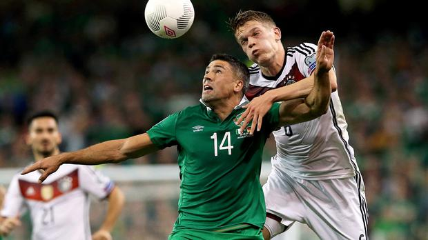 Jonathan Walters', left, penalty was not enough as Poland edged the Republic of Ireland