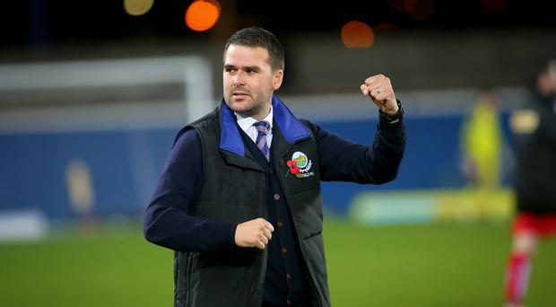 We've done it: David Healy celebrates the Shield victory