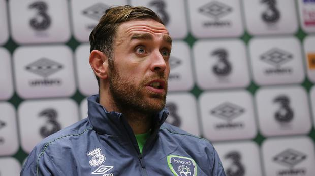 Republic of Ireland defender Richard Keogh, pictured, is relishing a showdown with Edin Dzeko