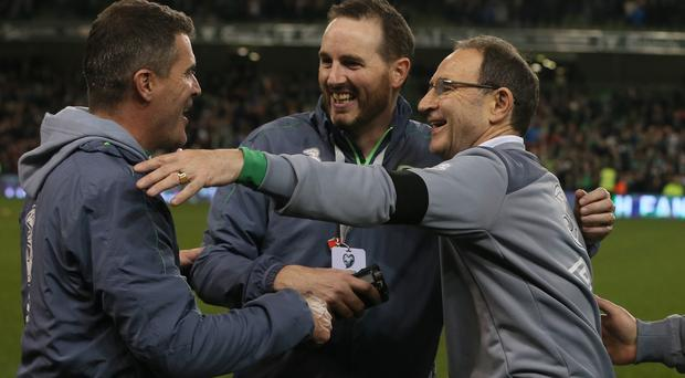 Martin O'Neill, right, praised the impact of his coaching staff after qualifying for Euro 2016