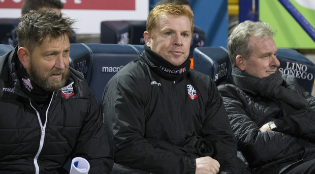 Under pressure: Neil Lennon, pictured last night, watches his side earn a draw