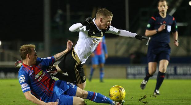 Jonny Hayes, centre, suffered a hamstring injury at Inverness