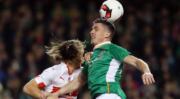 Ciaran Clark (right) was the Republic of Ireland's match-winner against Switzerland