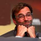 Strong hand: Jurgen Klopp, pictured at his pre-Europa League final press conference, insists that opponents Sevilla are not better than Liverpool and knows the Reds are a difficult team to beat if they play to their best ability