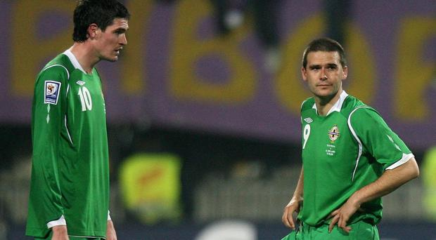 Kyle Lafferty, left, and David Healy were once Northern Ireland colleagues
