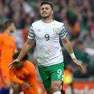 Shane Long celebrates his goal against Holland