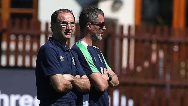 Republic of Ireland manager Martin O'Neill, left, and assistant Roy Keane have signed new deals