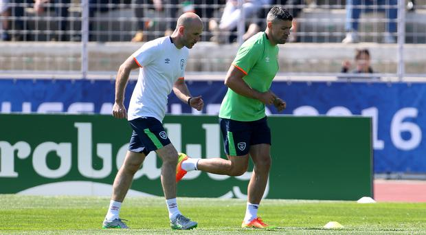 Jonathan Walters, right, is the Republic of Ireland's only significant injury doubt ahead of Monday's Euro 2016 clash with Sweden