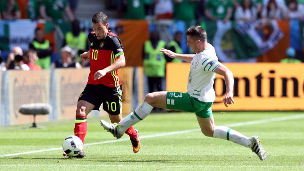 Republic of Ireland's Ciaran Clark, right, endured a torrid afternoon against Belgium