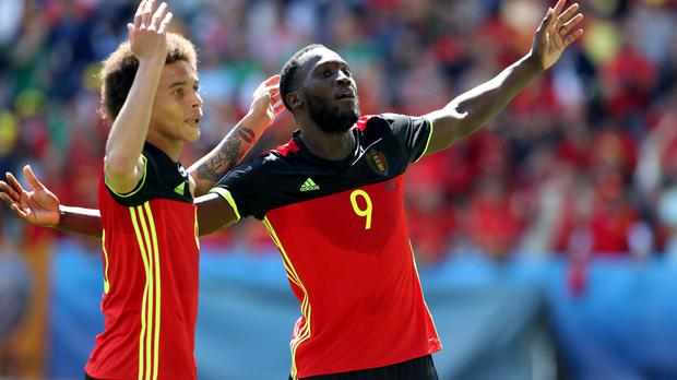 Romelu Lukaku, right, struck twice in succession either side of Axel Witsel's, left, 61st-minute header