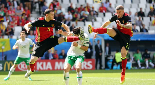 Republic of Ireland striker Shane Long is convinced he should have been awarded a penalty against Belgium