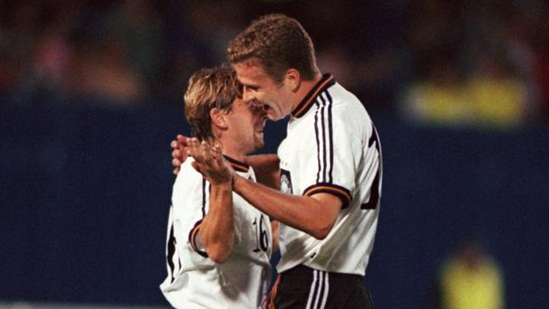 Oliver Bierhoff celebrates one of his many goals against Northern Ireland