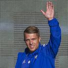 Jamie Ward waves to the fans in Belfast on Monday night