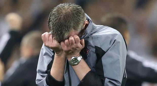 Dundalk manager Stephen Kenny was dejected after the final whistle.
