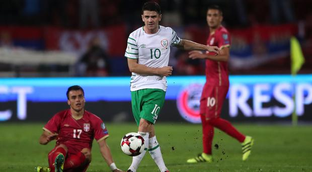 Robbie Brady, centre, believes Belgrade is a tricky place to go