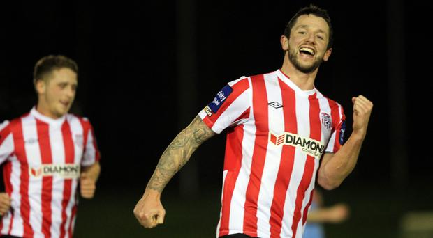 On target: Rory Patterson hit the equaliser for Derry City