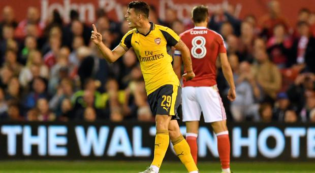 Screamer: Granit Xhaka opened the scoring for Arsenal