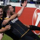 Dundalk's Ciaran Kilduff, right, celebrates his side's winner
