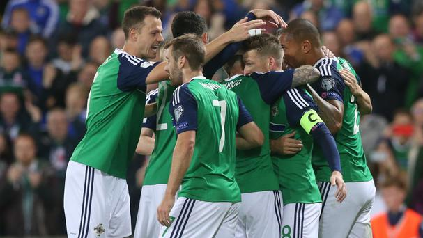 Steven Davis, second from right, netted Northern Ireland's opener