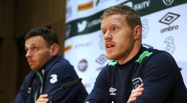 Daryl Horgan, right, and Andy Boyle on Republic of Ireland media duty