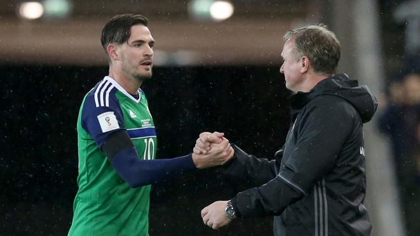Michael O'Neill, right, was delighted with Northern Ireland's performance