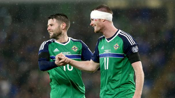 Chris Brunt, right, made his first international appearance in 13 months on Friday night