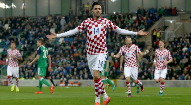 Duje Cop scored from a corner for Croatia at Windsor Park