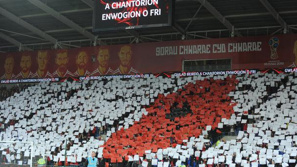 Wales fans displayed a poppy before the game