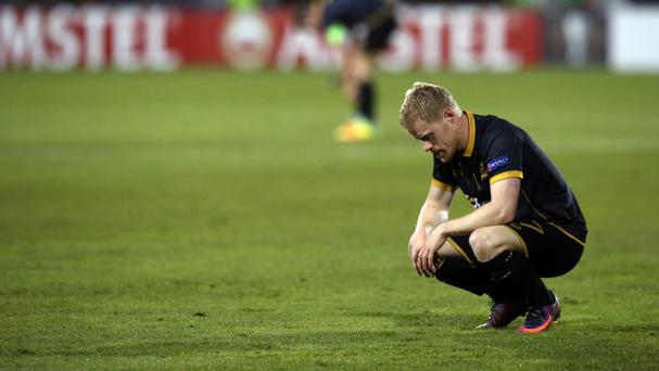 Dundalk's Daryl Horgan sits dejected after the loss to AZ