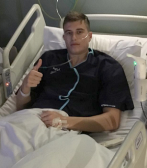 Thumbs up: Paddy McNair posted this image from hospital