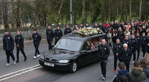 The funeral cortege of Derry City captain Ryan McBride