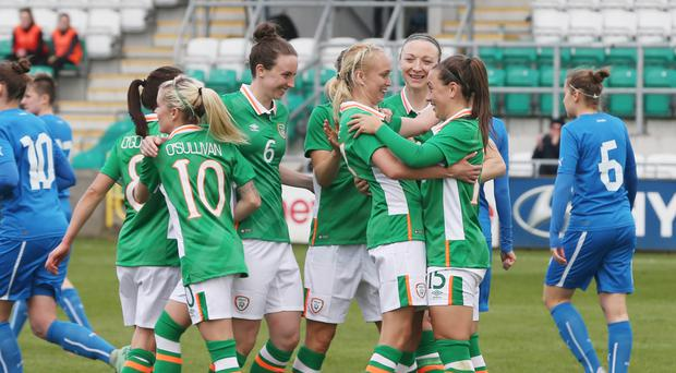The Republic of Ireland celebrate Stephanie Roche's goal