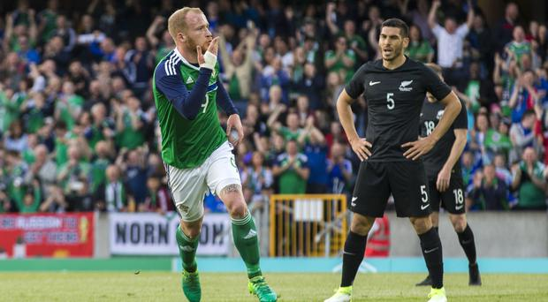 Liam Boyce celebrates his first international goal