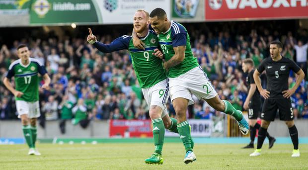Liam Boyce, left, and Josh Magennis impressed in attack on Friday