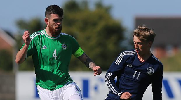 Liam Donnelly, left, scored a last-gasp penalty as Northern Ireland Under-21s won in Estonia on Thursday
