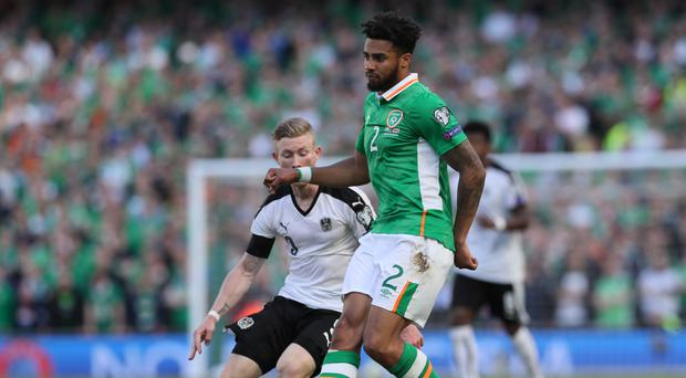 Republic of Ireland defender Cyrus Christie (right) was critical of referee David Fernandez Borbalan