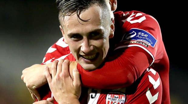 On target: Aaron McEneff opened the scoring for Derry