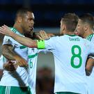 Josh Magennis' brace helped Northern Ireland past San Marino on Friday evening.