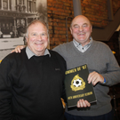 Great memories: Glentoran legends of yesteryear, Tommy Jackson (left) and Billy Sinclair in Belfast last week
