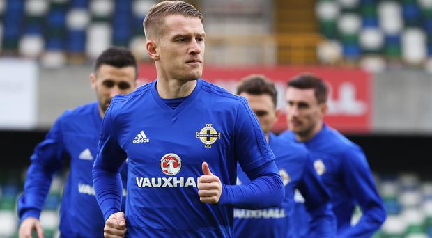Steven Davis trains on Wednesday ahead of his 100th cap